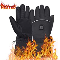 Men's Heated Gloves Includes 7.4V Li-ion Battery, Rechargeable Camping Hand Warmer Men Woman Mittens for Cold Winter,Perfect for Snowboarding, Shredding, Shoveling, Snowballs, Riding, Climbing,Hunting