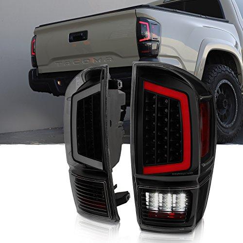 For 2016-18 Toyota Tacoma Full LED Light Bar Tail Lights Black Housing Smoked Lens Set ()