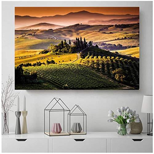 YQQICC Italia Toscana Bonito paisaje Lienzo Posters Impresiones Arte de la pared Pintura al oleo Cuadro decorativo Sala de estar moderna Decoracion del hogar - 60x80cm Sin marco