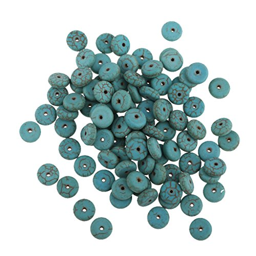 Jili Online 100x Turquoise Natural Style Washer Beads Jewellery Making Crafts -8mm