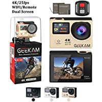 4K Camera,Dual Screen Wifi Sport Camera Ultra HD 4K 25fps Waterproof Action Cam 170°Wide Angle 2.4G Remote Controller With 2 PCS Rechargeable Batteries, Charger and Lots of Mounting Accessories