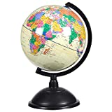 World Globe - 8-inch Political Globe - Spinning and Rotating Desktop Globe with Stand - Great Educational Gift for Kids and Adults