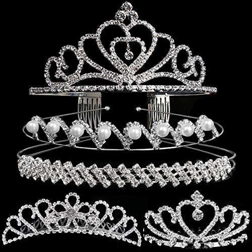 Set of 5 Crystal Headband, Teenitor Rhinestone Headbands for Women Hair Jewelry Wedding Headband Crown Party Tiaras-Silver -