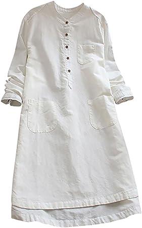 Overdose Vestido de Mujer Retro de Manga Larga sólido sólido Flojo botón Tapas O-Cuello Blusa Vintage Mini Camisa