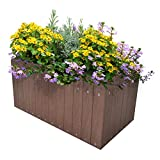 ART TO REAL Large Garden Raised Planters, Outdoor Raised Bed for Flowers Vegetable Herbs, 23.6''L x 12.5''W x 7.9''H (Coffee)