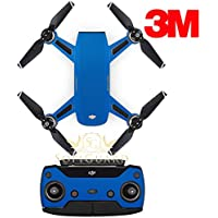 SopiGuard 3M Matte Blue Precision Edge-to-Edge Coverage Vinyl Sticker Skin Controller 3 x Battery Wraps for DJI Spark