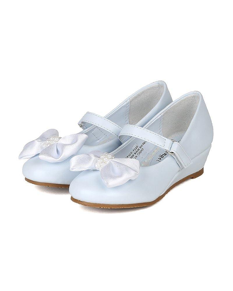 Little Angel Girls Sophie-730E Bow Embellishment Round Toe Wedge Heel Sandal White 4 little-angel/_sophie730e/_wht/_bk4