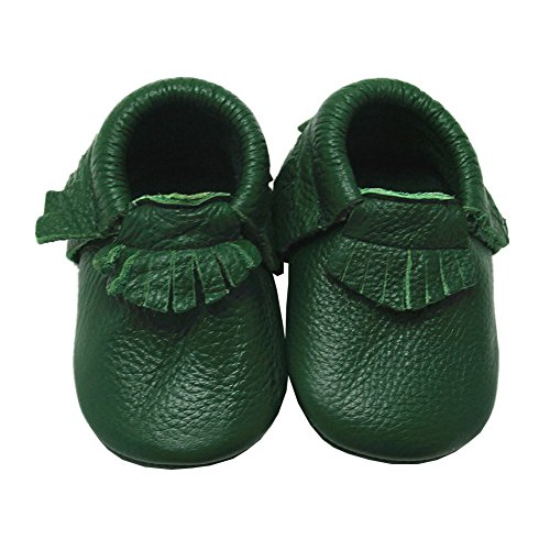 Mejale Baby Soft Soled Leather Green Tassels Slip-on Infant Toddler Boy Shoes Prewalker