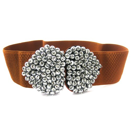 LOCOMO Beaded Rhinestone Crystal Bling Wide Belt Waistband (New Belt Bling Buckle Crystal)