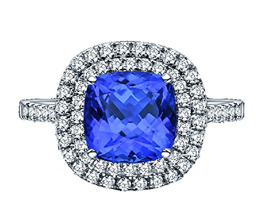 Gy Jewelry Princess Blue Zircon Cz White Gold Filled Women's Wedding Ring Gifts (10)