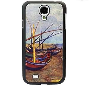 Vincent van Gogh oil painting Fishing Boats on the Beach at Saintes-Maries-de-la-Me Samsung Galaxy S4 SIV I9500 TPU Soft Black or White case (Black)