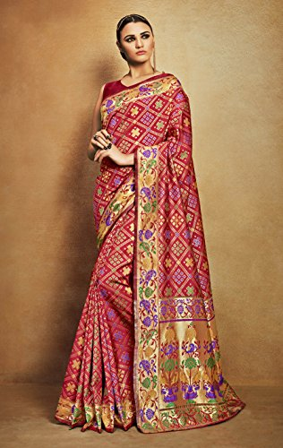 Viva-N-Diva-Red-Tussar-Art-Silk-Saree-With-Unstitched-Blouse-Piece