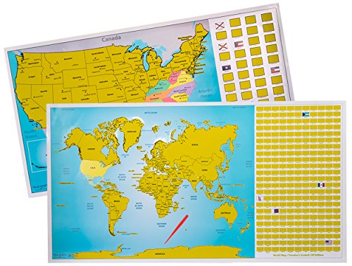 True North Maps - Scratch Off World US Travel Tracker Map Set, Scratch Countries and Flags with Precision Pen (United Pen compare prices)
