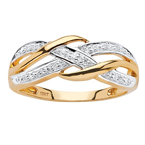 White Diamond Accent 10k Yellow Gold Braided Crossover Ring