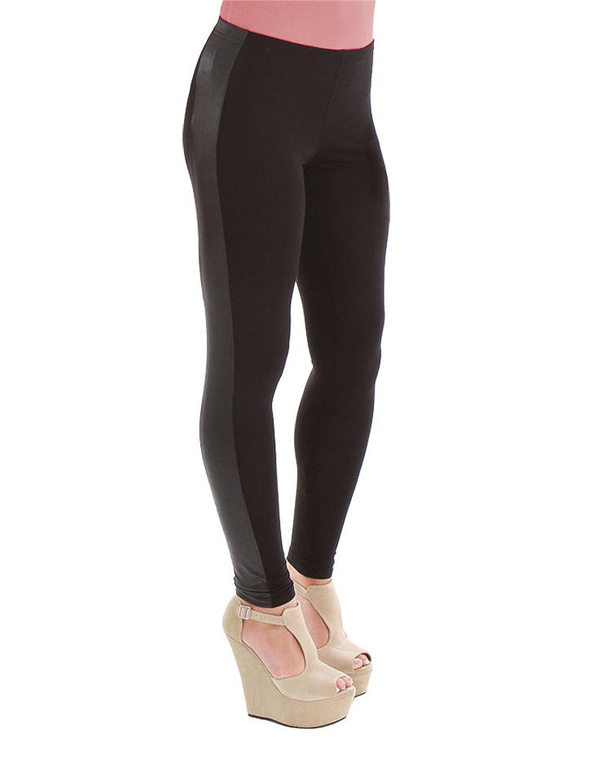 b9ead0f6 Mujer brillante mojado aspecto de piel Side Panel Fashion viscosa Leggings  8 – 10 – 12