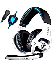 SADES SA903 Gaming Headset 7.1 son surround virtuel USB Casque de jeu avec micro intelligent Noise Cancelling Casque Gaming LED Light pour ordinateur portable PC Mac(blanc)