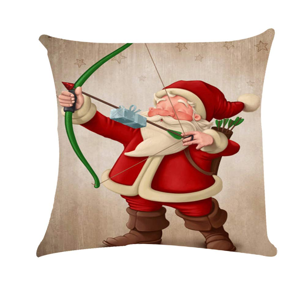 Christmas Linen Blend Pgojuni Throw Pillow Cover Cushion Cover Pillow Case Home Decor 1pc (45cm X 45cm) (C)