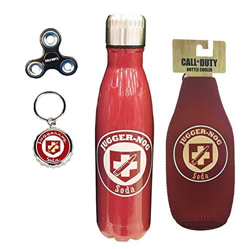 Call of Duty Perks 4 Piece Gift Bundle Water Bottle, Bottle Koozie, Fidget Spiner, Key Chain (Jugger Nog)