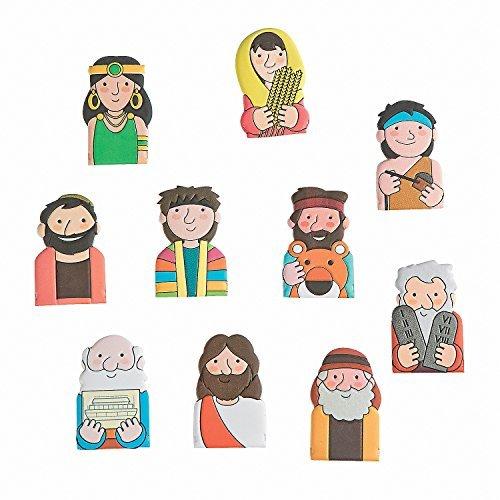 Fun Express Bible Character Figure Finger Puppets - 10 Pieces Character Finger Puppets