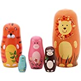 Jollylife 5pcs Nesting Doll Handmade Wooden Cute Cartoon Animals Pattern 6""