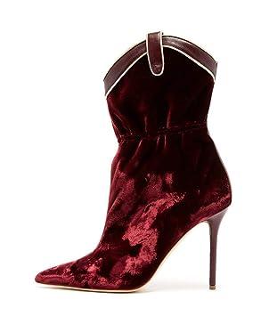 Botines con Punta en Punta de Terciopelo de otoño Primavera para Mujer, Zapatos de tacón