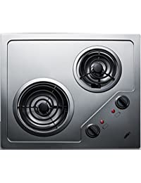 Summit CR2B122 Electric Cooktop, Stainless Steel