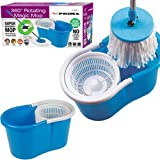 360 Spinning Rotating 2 Microfibre Cleaning Heads Spin Mop Floor Bucket Kitchen (Randomly Selected Colour Red/Blue)