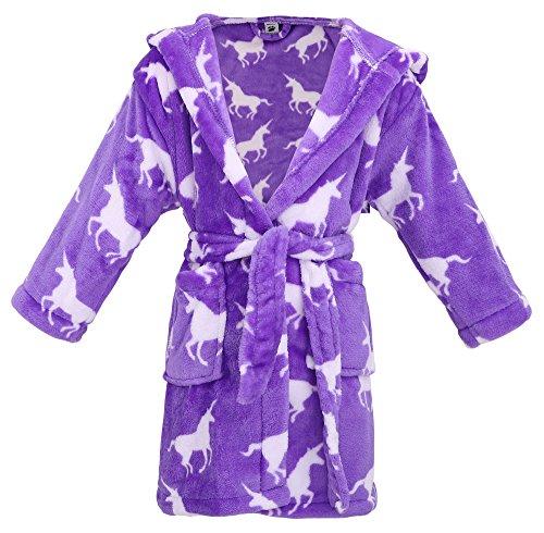 Kids Hooded Flannel Fleece Bathrobe Girls Robe with Side Pockets,Unicorns,S