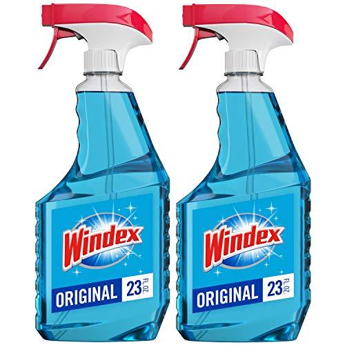 Windex Glass Cleaner Spray Bottle, Original Blue, 23 fl oz (2 ct)