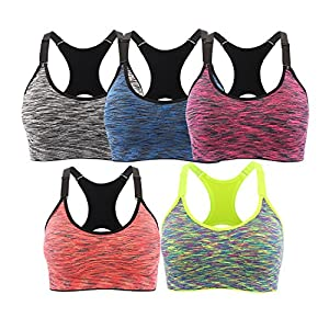 EMY Sports Bra 5 Pack Cami Space Dye Seamless Wirefree Stretchy Removable Pads For Fitness Gym Yoga Running (L, 5 Pack)