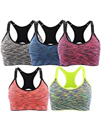 af524810f0606 Sports Bra 2 or 5 Pack Space Dye Seamless Stretchy Removable Pads for Yoga  Running Fitness