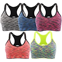 EMY Sports Bra 2 5 Pack Space Dye Seamless Stretchy Removable Pads for Yoga Running Fitness Workout