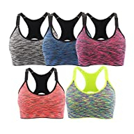 EMY Sports Bra 5 Pack Cami Space Dye Seamless Wirefree Stretchy Removable Pads for Fitness Gym Yoga Running
