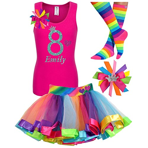Image Of The 8th Birthday Shirt Rainbow Tutu Girls Party Outfit 4PC Gift Set Personalized Name