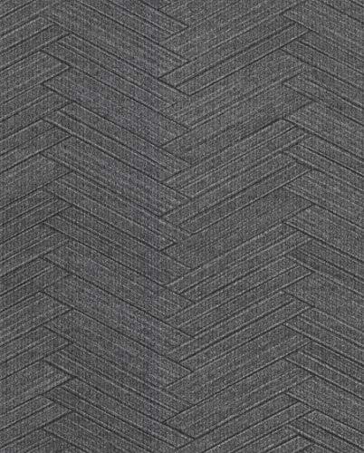 Warner Textures 2830-2760 Karma Charcoal Herringhone Weave Wallpaper
