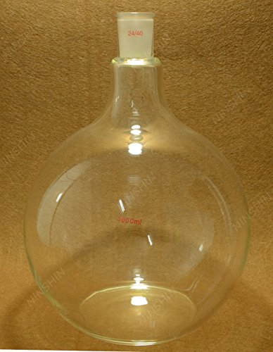 NANSHIN Glassware,Flat Bottom Glass Flask,5000ml,24/40,Sigle Neck,One Neck,5 Litre,Boiling Bottle