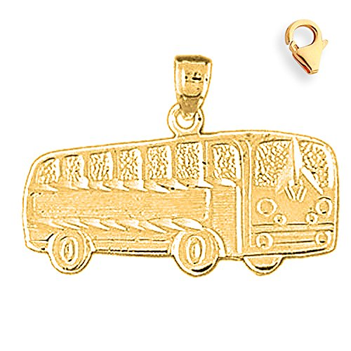 Jewels Obsession Bus Pendant   14K Yellow Gold Bus Charm Pendant - 19mm