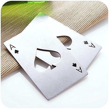 Happy Star® Poker carte da gioco asso di Picche in acciaio INOX metallo apribottiglie, Acciaio inossidabile, 1 pezzo ChaoYing Trading