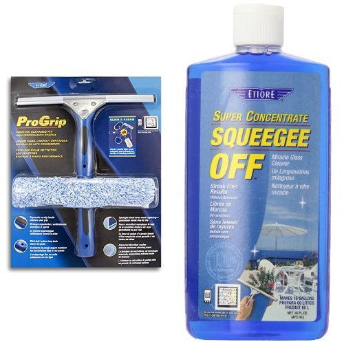 Ettore 65000 Professional Progrip Window Cleaning Kit & Ettore 30116 Squeegee Off Window Cleaning Soap, 16-Ounce