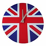 Glass Extra Large Round Union Jack London Wall Clock Britain British Gift Ex Pat