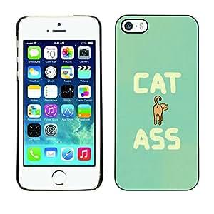 PC/Aluminum Funda Carcasa protectora para Apple Iphone 5 / 5S Cat Ass Funny Quote Animal Art Pet Feline / JUSTGO PHONE PROTECTOR