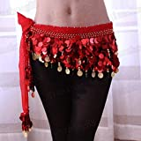 100% Handmade Belly Dance Hip Scarf , Gold Coins