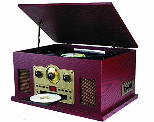 Sylvania SRCD838 5-In-1 Nostalgic Turntable with CD, Casette, Radio, Aux-In (Cd Player Aux In)