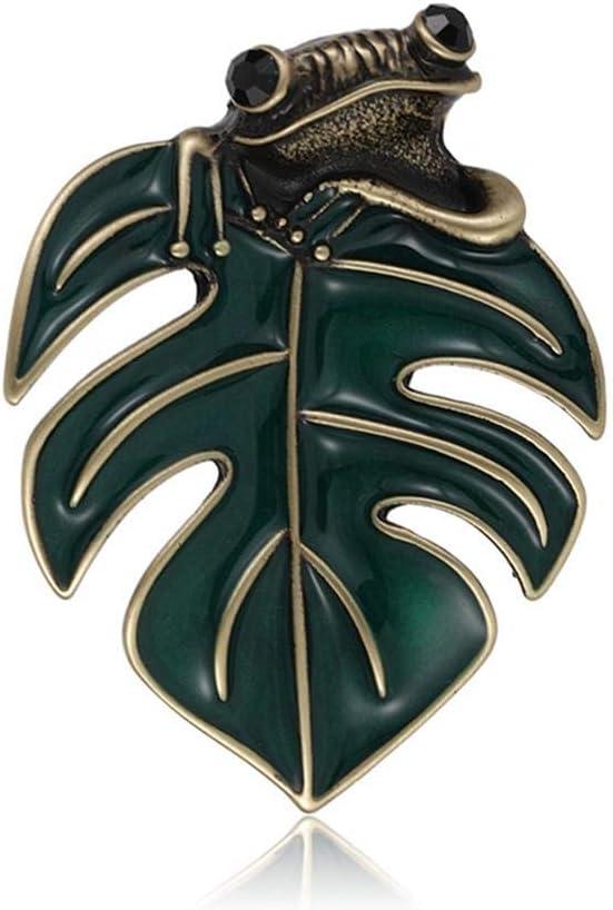 Broches De Rana De Hoja Verde Vintage Mujeres Hombres Esmalte Esmalte Broche De Animales Pequeños Pin Sapo Joyería Harajuku