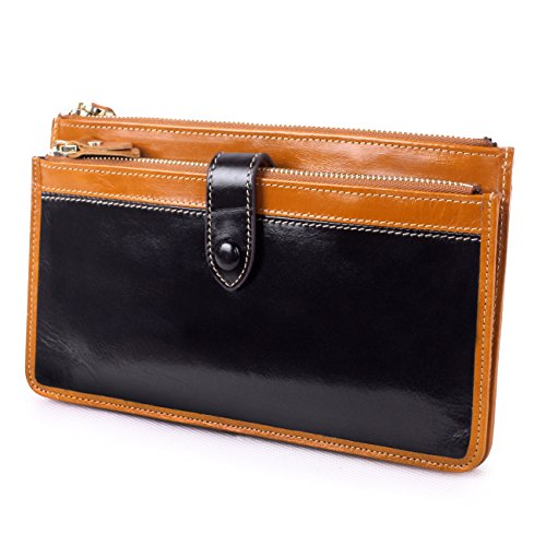 BIG SALE-Yafeige Women's Genuine Leather Clutch Wallet Purse Card Holder Zipper Money Clip(Black)