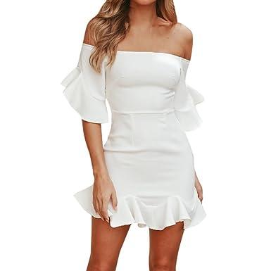 76944cf0dd5 Kstare Women s Casual Off Shoulder Ruffles Strapless Short Dresses Mini  Dresses (S
