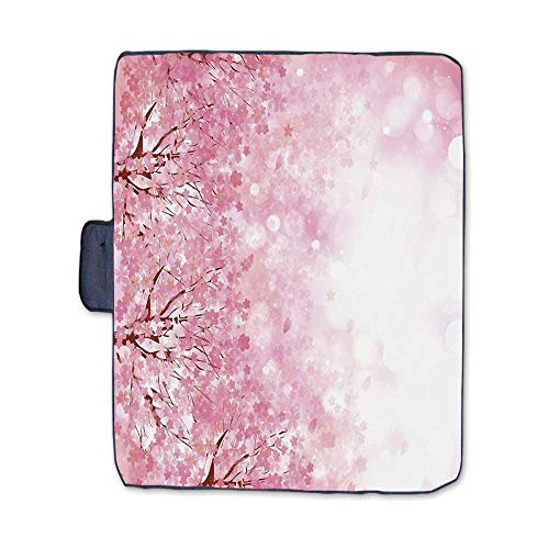Light Pink Stylish Picnic Blanket,Japanese Cherry Blossom Sakura Tree with Romantic Influence Asian Nature Theme Decorative Mat for Picnics Beaches Camping,58
