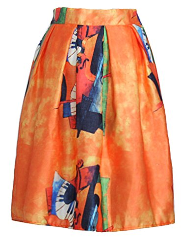 Helan ebouriffer Taille femmes jupe Orange floral haute de cru r1rfP6