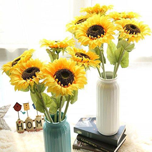 Artfen 4 Pcs Artificial Sunflowers Fake Sunflowers Long Stem Flocking Coating Artificial Silk Flowers For Home Hotel Office Wedding Party Garden Craft Art Decor 26.4'' ()