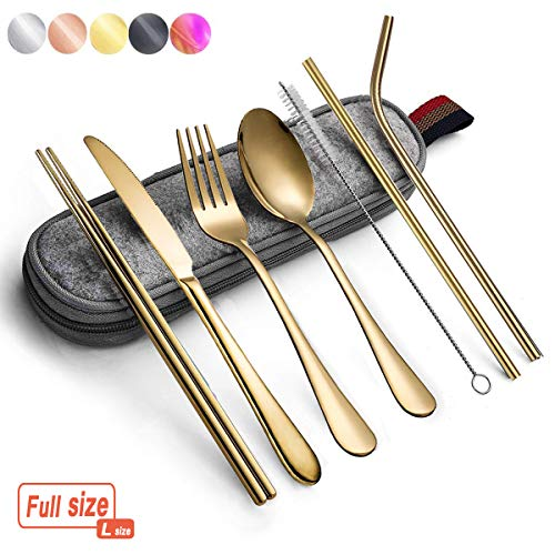 Portable Utensils Silverware Flatware set 8-Piece Cutlery set including Knife Fork Spoon Chopsticks Straws Portable bag for Travel Work Camping Picnic Stainless steel Utensil set (Gold Full)